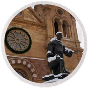 St Francis Cathedral In Santa Fe - Winter Round Beach Towel