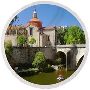 St Goncalo Cathedral Round Beach Towel by Carlos Caetano