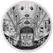 St. Louis Cathedral Monochrome Round Beach Towel