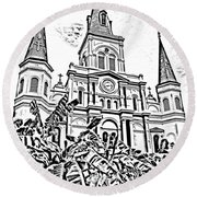 St Louis Cathedral Rising Above Palms Jackson Square New Orleans Photocopy Digital Art Round Beach Towel by Shawn O'Brien