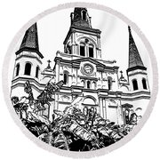 St Louis Cathedral Rising Above Palms Jackson Square New Orleans Stamp Digital Art Round Beach Towel