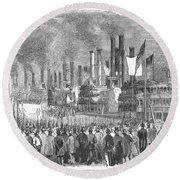 St. Louis: Steamboats, 1857 Round Beach Towel