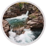 St. Mary Falls Glacier National Park Round Beach Towel
