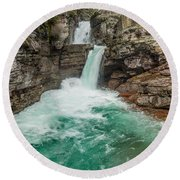 St. Mary Falls In Spring Round Beach Towel