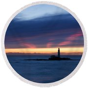 St Marys Lighthouse Sunrise Round Beach Towel
