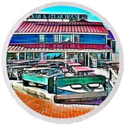 St Michaels Crab And Steak House Round Beach Towel
