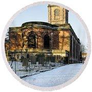 St Modwen's Church - Burton - In The Snow Round Beach Towel