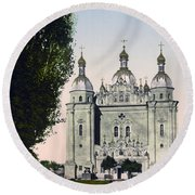 St Paul And St Peter Cathedrals In Kiev - Ukraine - Ca 1900 Round Beach Towel