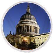 St Pauls Cathedral At Dusk, Exterior Round Beach Towel