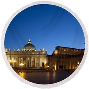 St. Peter's Basilica At Night Round Beach Towel