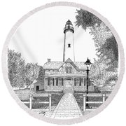 St. Simons Lighthouse Round Beach Towel