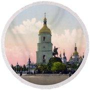 St Sophia Cathedral In Kiev - Ukraine - Ca 1900 Round Beach Towel
