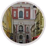 St Stanislaus Church Exterior Round Beach Towel