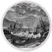 St. Thomas: Hurricane, 1867 Round Beach Towel