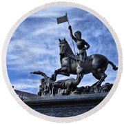 St Vitus Cathedral - St George Statue  Round Beach Towel