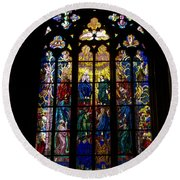 St Vitus Cathedral Stained Glass Round Beach Towel