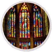 St Vitus Main Altar Stained Glass Round Beach Towel