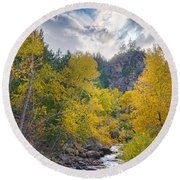 St Vrain Canyon Autumn Colorado View Round Beach Towel