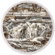 St Vrain River Waterfall   Round Beach Towel