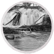 St Vrain River Waterfall Slow Flow Bw Round Beach Towel