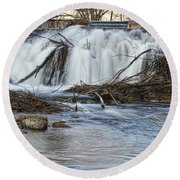 St Vrain River Waterfall Slow Flow Round Beach Towel