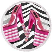 Stack 'em High Pink Platforms On Zebra Round Beach Towel