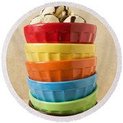 Stack Of Colored Bowls With Ice Cream On Top Round Beach Towel