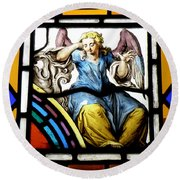 Stained Glass Angel Round Beach Towel