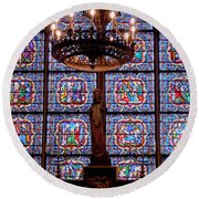 Stained Glass At Notre Dame Cathedral Round Beach Towel