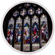 Stained Glass - Bath Abbey Round Beach Towel