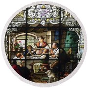 Stained Glass Family Giving Thanks Round Beach Towel