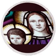 Stained Glass Holy Family Round Beach Towel