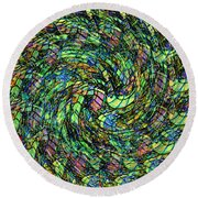 Stained Glass In Abstract Round Beach Towel