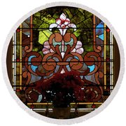 Stained Glass Lc 17 Round Beach Towel