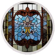 Stained Glass Lc 19 Round Beach Towel by Thomas Woolworth