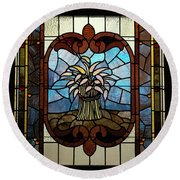 Stained Glass Lc 20 Round Beach Towel