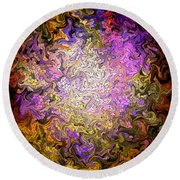 Stained Glass Mosaic Round Beach Towel