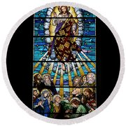 Stained Glass Pc 01 Round Beach Towel
