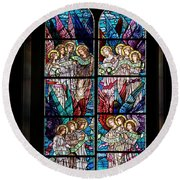 Stained Glass Pc 05 Round Beach Towel