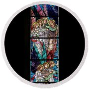 Stained Glass Pc 06 Round Beach Towel