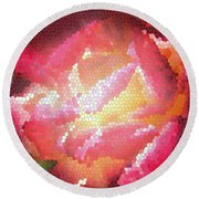 Stained Glass Rose Round Beach Towel
