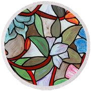 Stained Glass Wild  Flowers Round Beach Towel