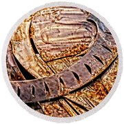 Stainless And Rust Abstract Round Beach Towel