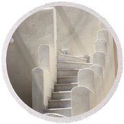 Stairs In Greece Round Beach Towel