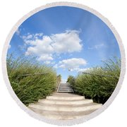 Stairs To The Big Blue Sky Round Beach Towel