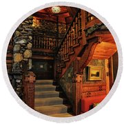 Stairway In Gillette Castle Connecticut Round Beach Towel