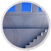 Stairway In Iao Greece Round Beach Towel