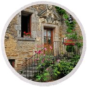 Stairway Provence France Round Beach Towel