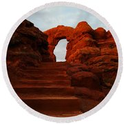 Stairwell To The Gods  Round Beach Towel