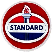 Standard Oil Sign Round Beach Towel